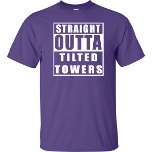 Straight Outta Tilted Towers, Purple, T-Shirt