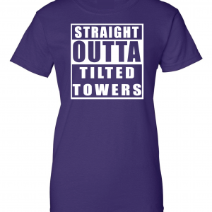 Straight Outta Tilted Towers, Purple, Women's Cut T-Shirt