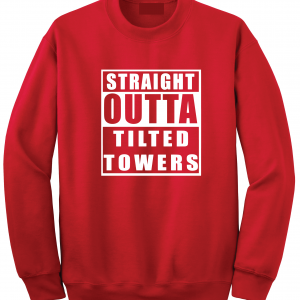 Straight Outta Tilted Towers, Red, Crew Sweatshirt