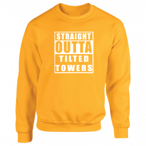 Straight Outta Tilted Towers, Gold, Crew Sweatshirt