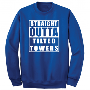 Straight Outta Tilted Towers, Royal-White, Crew Sweatshirt