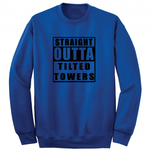 Straight Outta Tilted Towers, Royal-Black, Crew Sweatshirt