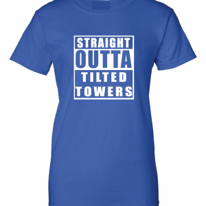 Straight Outta Tilted Towers, Royal-White, Women's Cut T-Shirt