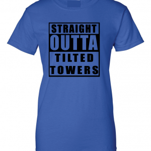 Straight Outta Tilted Towers, Royal-Black, Women's Cut T-Shirt
