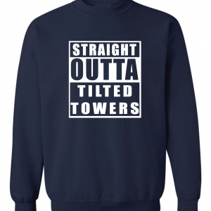 Straight Outta Tilted Towers, Navy, Crew Sweatshirt