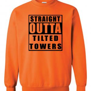 Straight Outta Tilted Towers, Orange-Black, Crew Sweatshirt