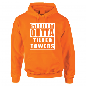 Straight Outta Tilted Towers, Orange-White, Hoodie