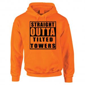 Straight Outta Tilted Towers, Orange-Black, Hoodie
