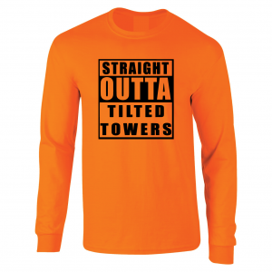 Straight Outta Tilted Towers, Orange-Black, Long-Sleeved