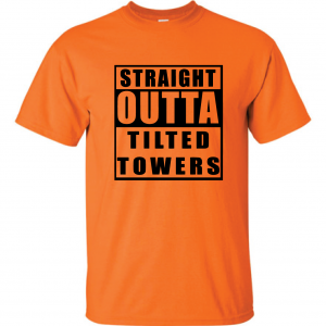 Straight Outta Tilted Towers, Orange-Black, T-Shirt