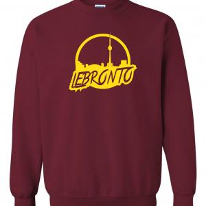 Lebronto - Lebron James - Toronto, Maroon, Crew Sweatshirt