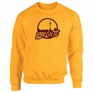 Lebronto - Lebron James - Toronto, Gold, Crew Sweatshirt