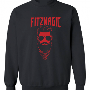 Fitzmagic Face, Black, Crew Sweatshirt