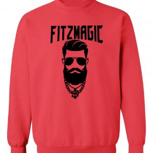 Fitzmagic Face, Red, Crew Sweatshirt