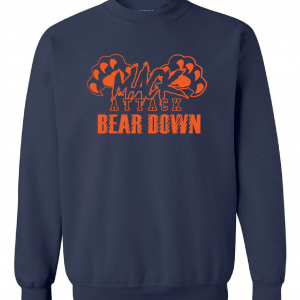 Mack Attack Bear Down, Navy, Crew Sweatshirt
