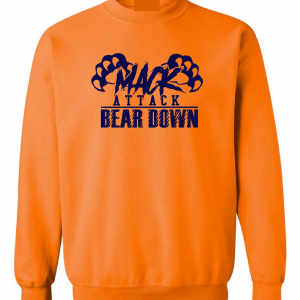 Mack Attack Bear Down, Orange, Crew Sweatshirt