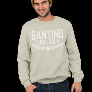 Santino Corleon Sand (tan) Crewneck Sweatshirt with white lettering