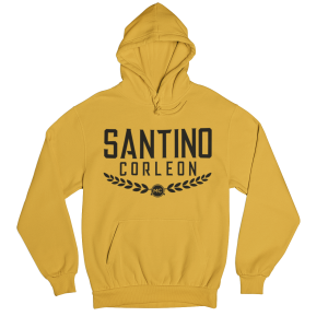 Santino Corleon Athletic Gold Hoodie with black lettering