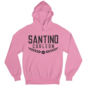 Santino Corleon Azalea (pink) Hoodie with black lettering