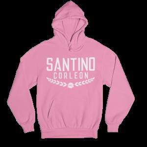 Santino Corleon Azalea (pink) Hoodie with white lettering