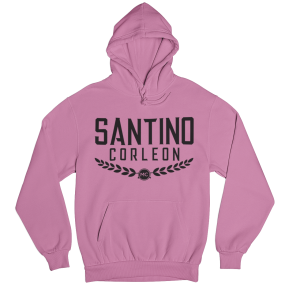 Santino Corleon Coral Silk Hoodie with black lettering