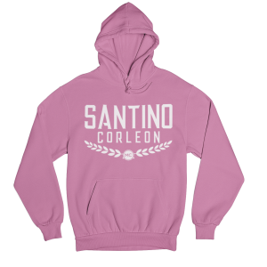 Santino Corleon Coral Silk Hoodie with white lettering