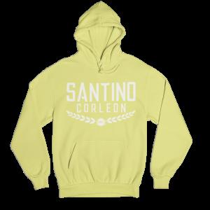 Santino Corleon Cornsilk (pale yellow) Hoodie with white lettering