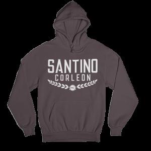 Santino Corleon Dark Chocolate Hoodie with white lettering