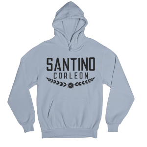 Santino Corleon Light Blue Hoodie with black lettering