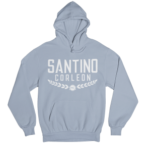 Santino Corleon Light Blue Hoodie with white lettering
