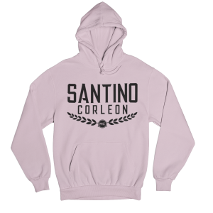 Santino Corleon Light Pink Hoodie with black lettering