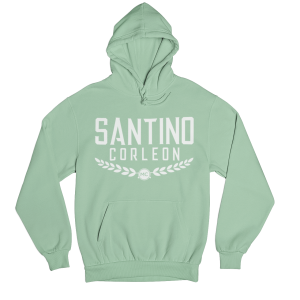 Santino Corleon Mint Green Hoodie with white lettering