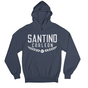 Santino Corleon Navy Hoodie with white lettering