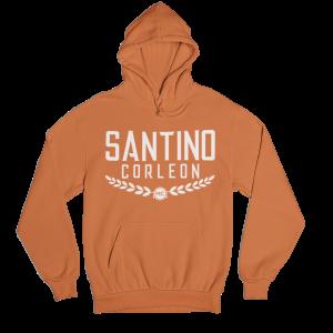 Santino Corleon Orange Hoodie with white lettering