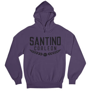 Santino Corleon Purple Hoodie with black lettering