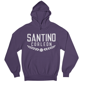 Santino Corleon Purple Hoodie with white lettering