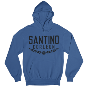 Santino Corleon Royal Blue Hoodie with black lettering