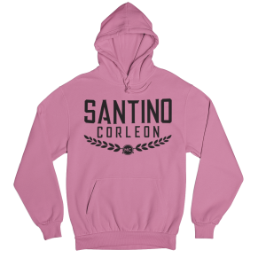 Santino Corleon Safety Pink Hoodie with black lettering