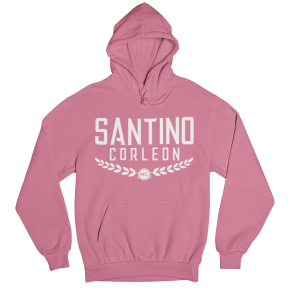 Santino Corleon Safety Pink Hoodie with white lettering