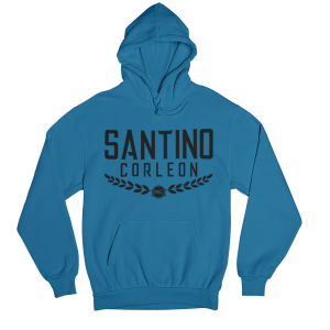 Santino Corleon Sapphire Hoodie with black lettering