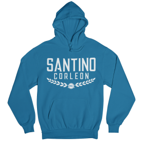 Santino Corleon Sapphire Hoodie with white lettering