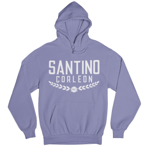 Santino Corleon Violet Hoodie with white lettering
