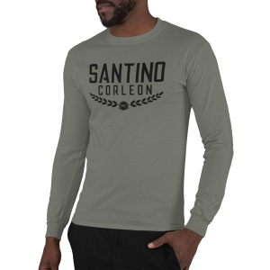 Santino Corleon Military Green Long Sleeve Shirt with black lettering