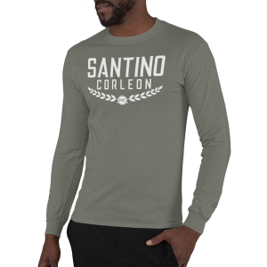 Santino Corleon Military Green Long Sleeve Shirt with white lettering