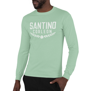 Santino Corleon Mint Green Long Sleeve Shirt with white lettering