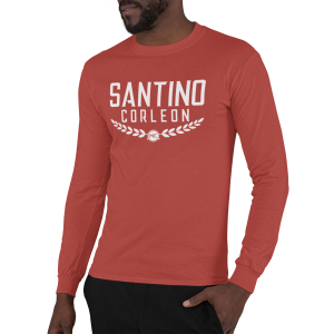 Santino Corleon Red Long Sleeve Shirt with white lettering